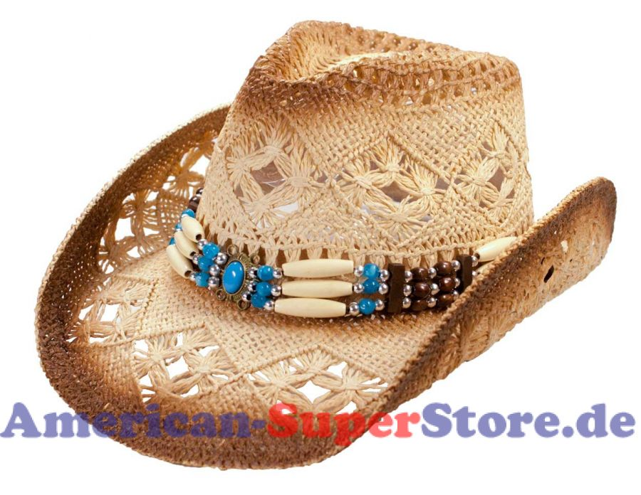 Strohhut mit breiten Knochen-Hutband und Schmuckstein