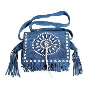 Ledertasche, Fransentasche mit Concho und Perlen blau
