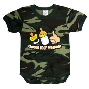 "Kurzärmliger Baby Body ""Choose your Weapon"""