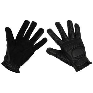 Lederhandschuhe, schwarz, mit Polsterung, Security