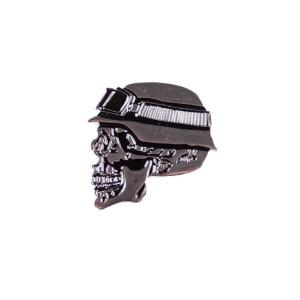 Anstecker, Pin Biker Totenkopf mit Helm