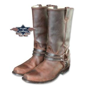 Herren Westernstiefel Biker Boots, braun, Rindsleder...