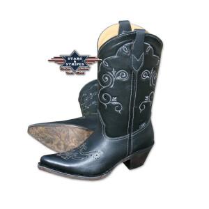 Damen Cowboystiefel Westernstiefel schwarz Stars&Stripes