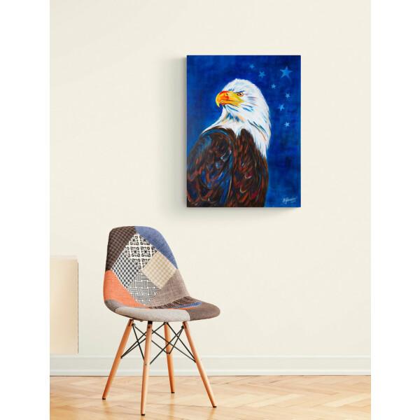 Adler, Weißkopfseeadler, American Eagle, modernes Acrylbild auf Keilrahmen 80cm x 60cm, signiertes Originalbild