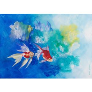 Goldfische Wasser See Pflanzen Koi Acrylbild 50x70cm