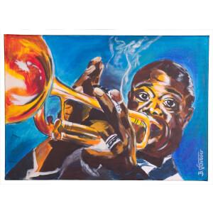 Porträt von Louis Armstrong, Jazzmusiker Acrylbild...