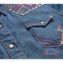 """Westernbluse """"AVA"""" im Denim-Look m. Stickereien, Ziernaht, Brusttaschen u. Druckknöpfe"""