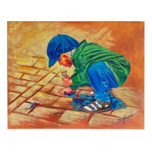 Leinwandbild, Acrylbild Poträt Kind Mädchen 80...