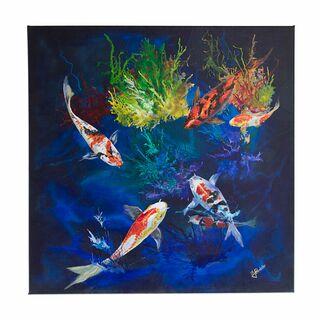 "Acrylgemälde, Leinwandbild ""Goldfischteich"" 80x80 cm, original handgemalt, signiert (VERKAUFT)"