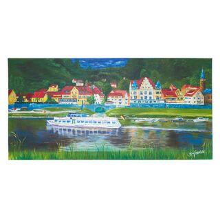 """Acrylbild """"Wehlen/Sachsen"""" 100x50cm, handgemalt u. signiert"""