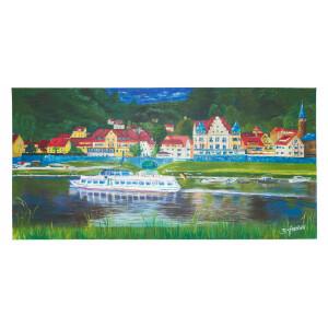 """Acrylbild """"Wehlen/Sachsen"""" 100x50cm, handgemalt..."""