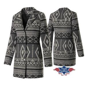 Damenmantel Wintermantel warme Winterjacke im Azteken-Design