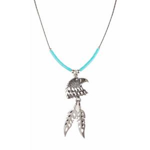 Silberkette mit Adlerkopf und Silberfedern - Indianerschmuck