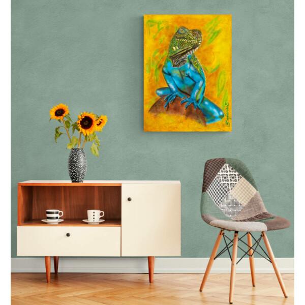 Acrylbild Echse, Airbrush, Leinwand 60x80, original handgemalt, signiert