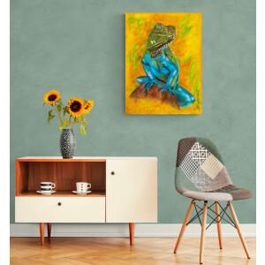 Acrylbild Echse, Airbrush, Leinwand 60x80, original...