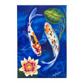 Acrylbild Koi Fische 50 x75cm Leinwand Keilrahmen original handsigniert (VERKAUFT)