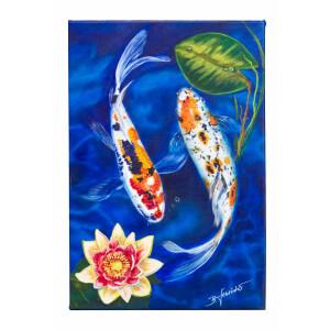 Acrylbild Koi Fische 50 x75cm Leinwand Keilrahmen...