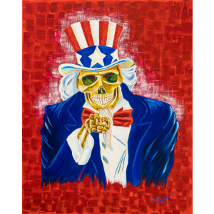 Leinwand Druck vom Original Uncle Sam Dead Tod Acrylbild