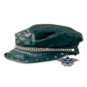 Biker Ledercap Mütze Schirmmütze mit Kette/Nieten