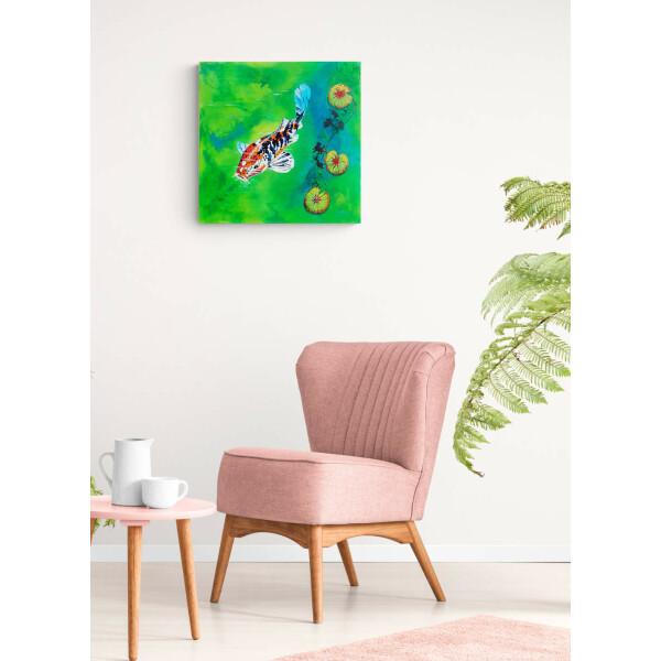 "Acrylgemälde, Leinwandbild ""Koi Karpfen"" 60x60 cm, original handgemalt, signiert"